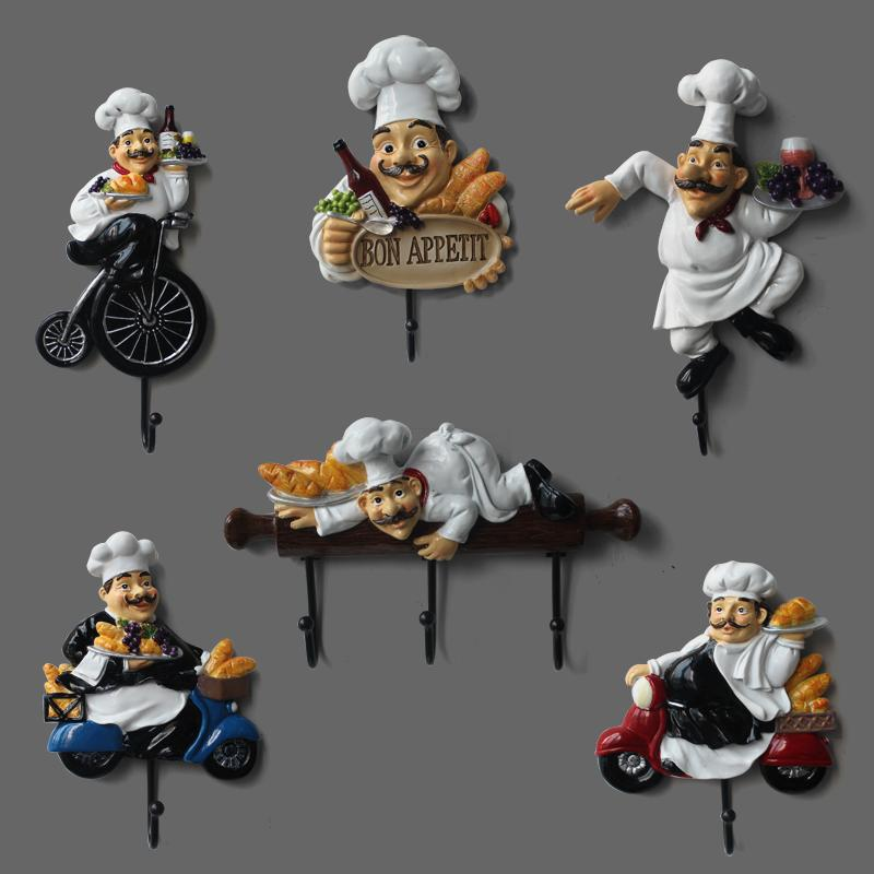 Chef figurine wall hook resin craft for living room kitchen Creative European character model home garden Ornaments decorations