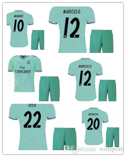 2019 2020 New Real Madrid Kinder Trikots 19 \ 20 Weiß Auswärts 3. Junge Kind Jugend Modric ISCO BALE KROOS Fußball Trikots