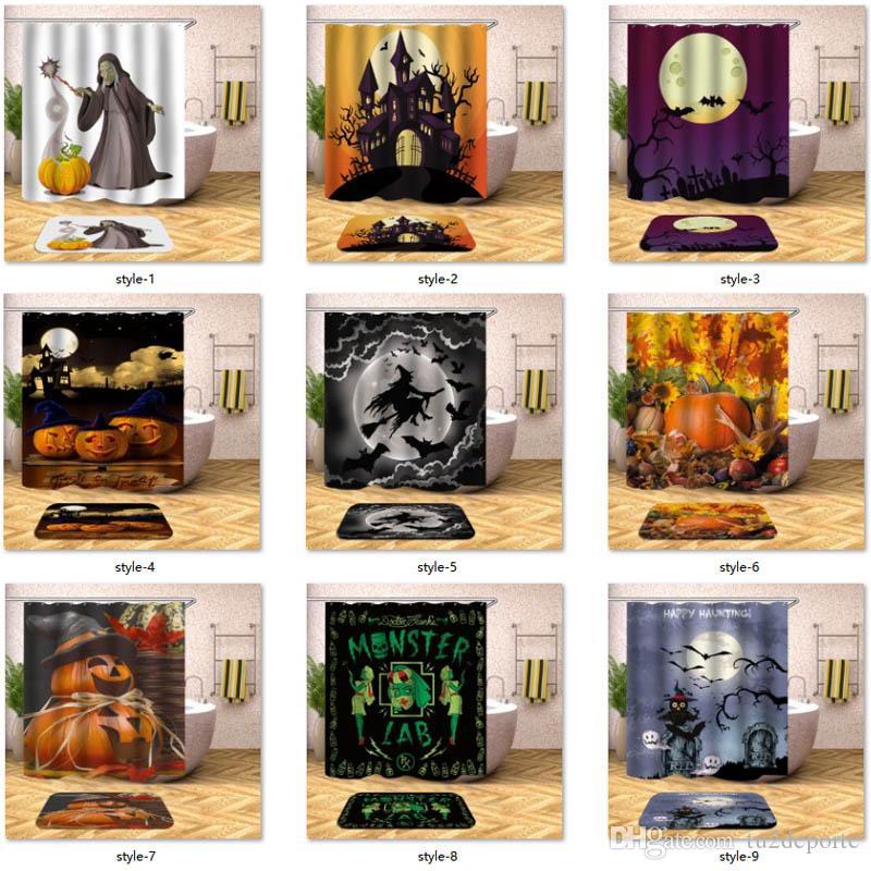 Cortina de Chuveiro do Dia Das Bruxas Horror Fantasma Bruxa Abóbora Lua Banheiro Cortina de Chuveiro Tecido de Poliéster Impermeável com 12 pcs Ganchos 180X180 cm