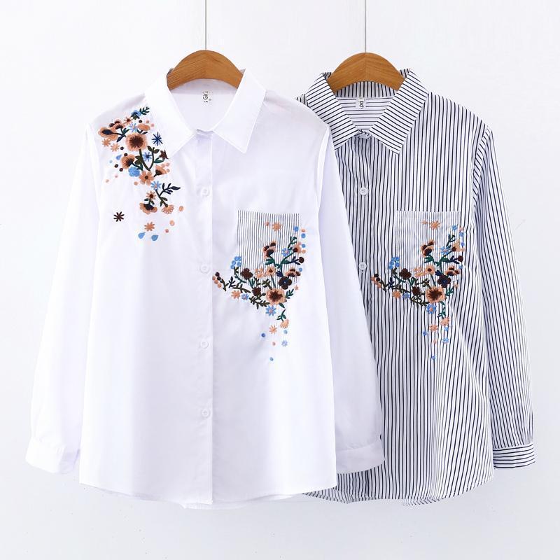 mulheres tops e blusas das mulheres da forma blusas mulheres blusa 2020 bordado floral listrado chiffon blusa branca de manga longa C761PT