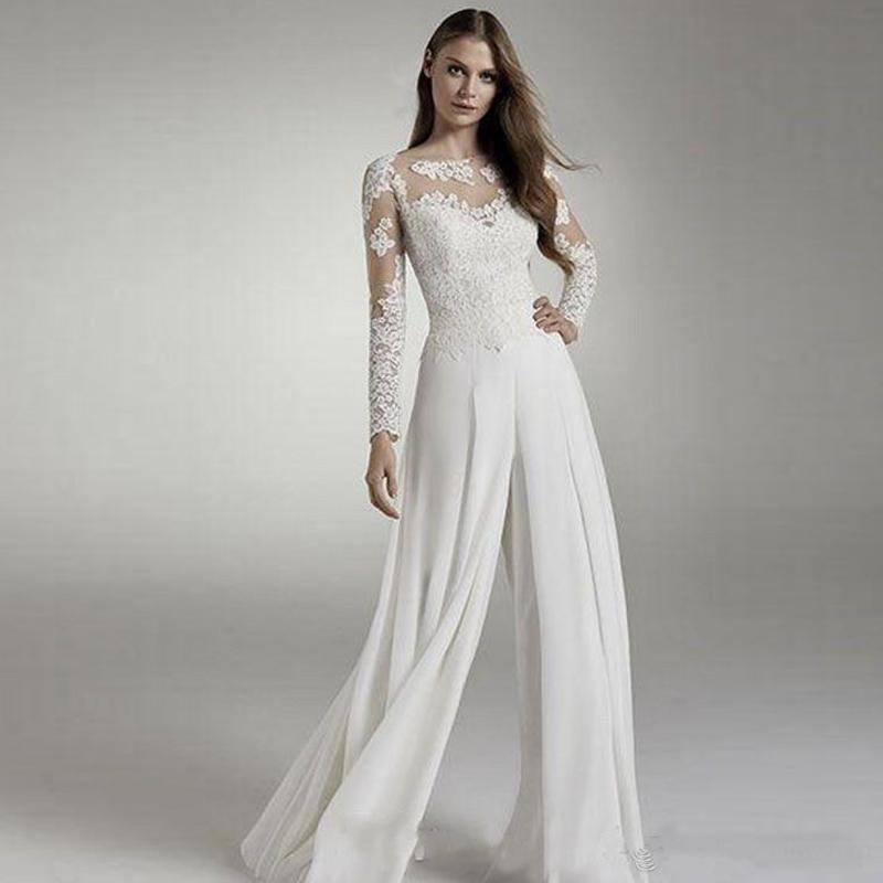 2020 Designer Cheap Lace Wedding Jumpsuits Long Sleeves Jewel Sheer Neck Hollow Back Applique Chiffon Bridal Suits Wedding Reception Dresses