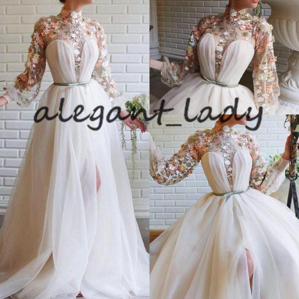 Weiß Prinzessin Long Sleeve Abendkleider 2020 Modern High Neck 3D-Spitze-Stickerei Höhe aufgeschlitzte Abendkleider Wear Abiye gece elbisesi