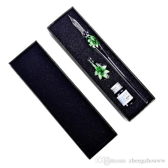 Pluma de inmersión de vidrio Faux Crystal Ink Signature Interior Flower para escribir regalo de decoración de arte