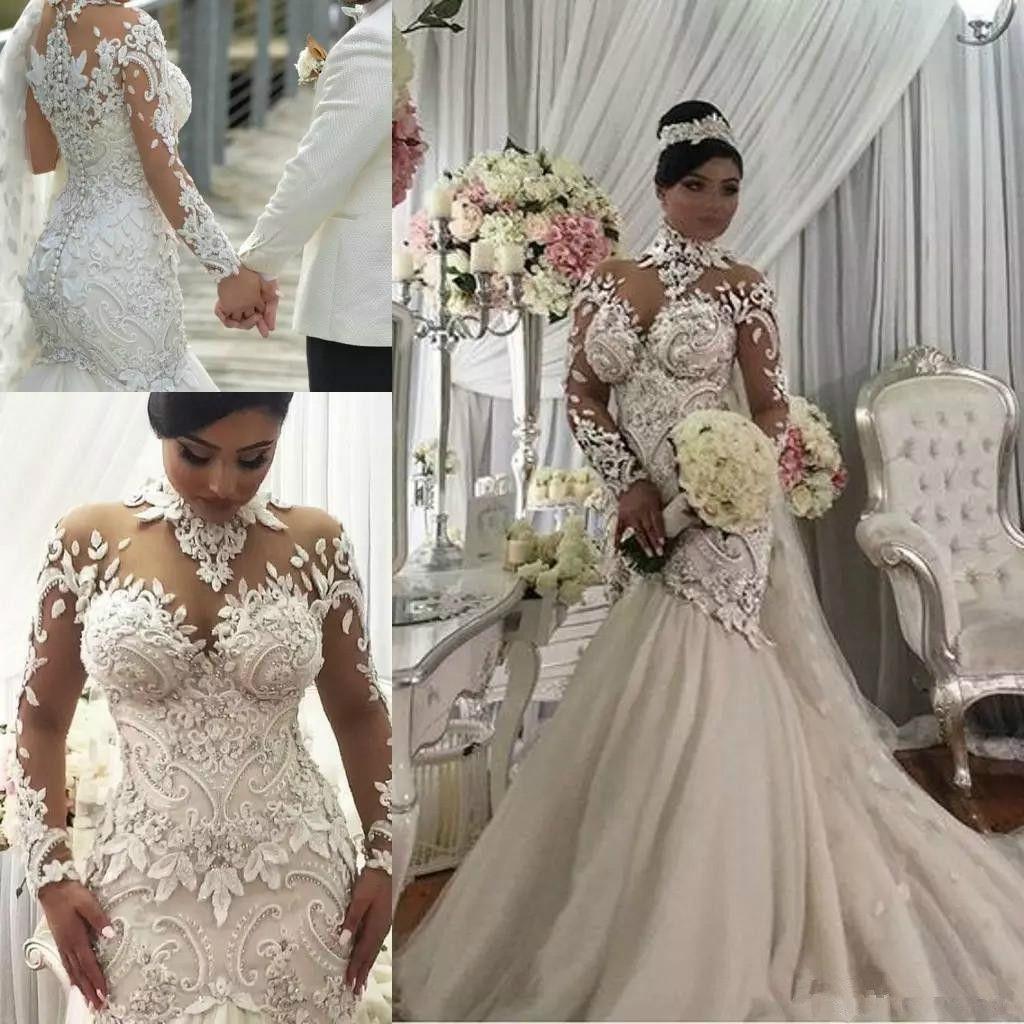 Azzaria Haute Couture Nigeria Mermaid maniche lunghe abiti da sposa 2019 Modest Sheer collo alto pizzo Plus Size abiti da sposa arabo bordare