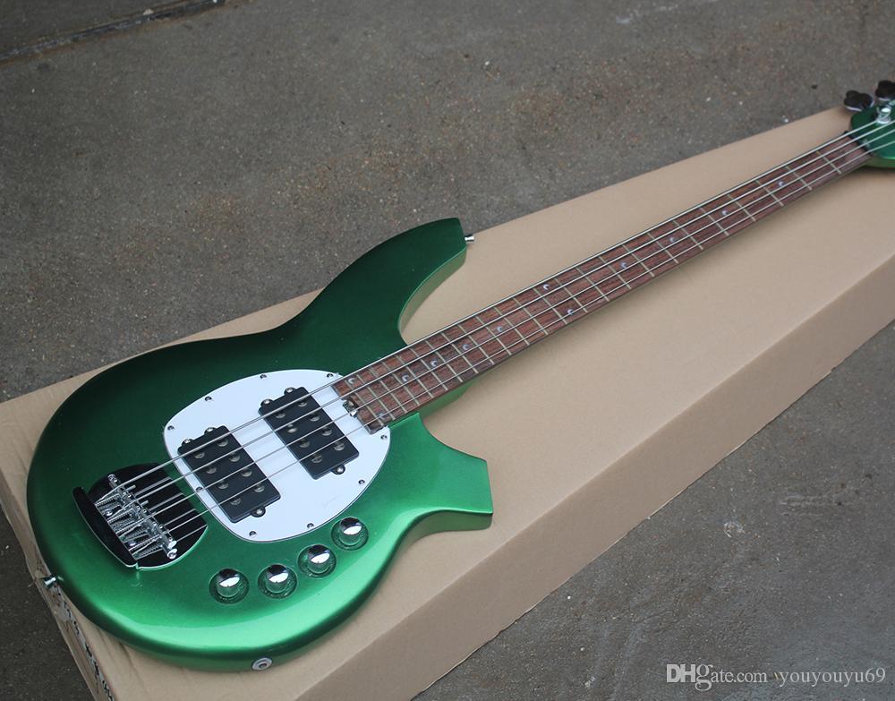 Metal verde de 4 cuerdas guitarra eléctrica baja con camioneta blanca, la escala de palo de rosa, herrajes cromados, servicio de encargo
