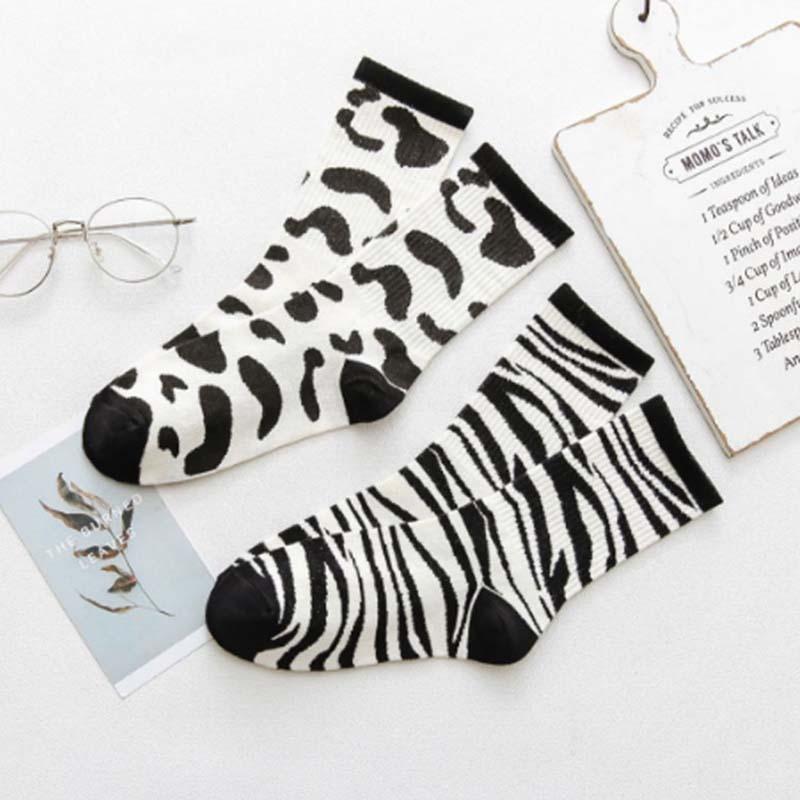 1 par New kawaii Socks Mulheres Red Pattern zebra Dairy macia respirável de algodão meias de alta Casual Comfy Meias Moda St