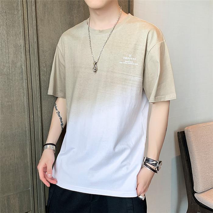 Manica corta Mens Gradiente maglietta allentata estate Adolescente O-Collo High Street Tees Maschio Pullover maglietta