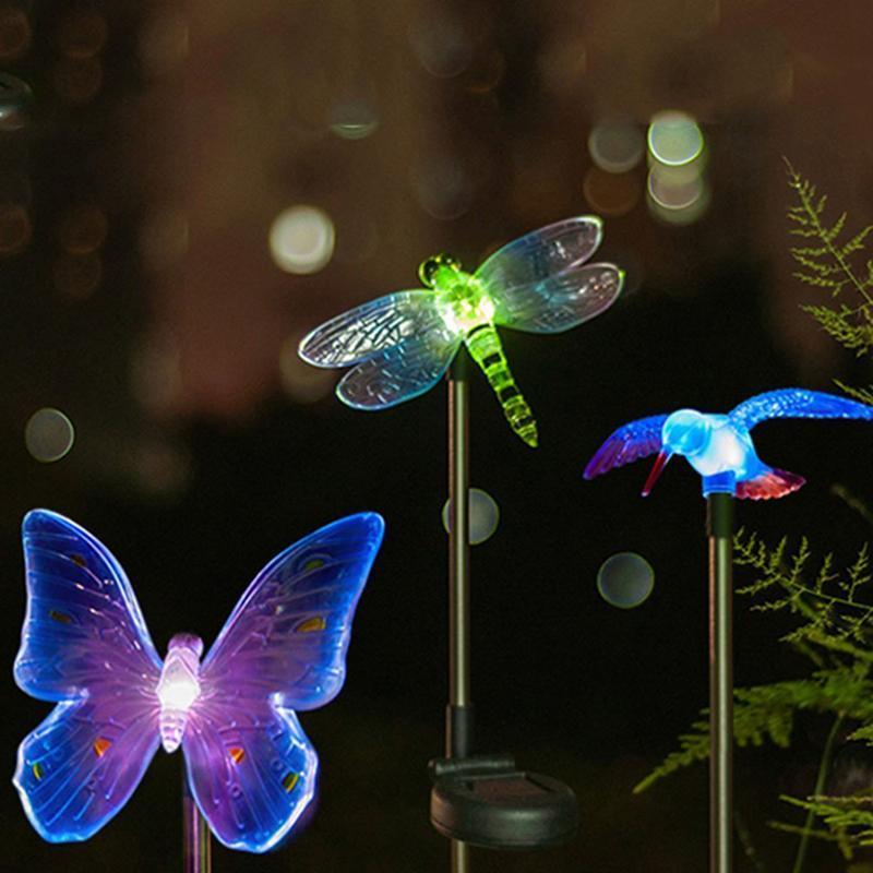 Lampada di prato a colori -Modifica Led Giardino luce solare esterna impermeabile Libellula / farfalla / uccello solare del LED per la decorazione del giardino Path