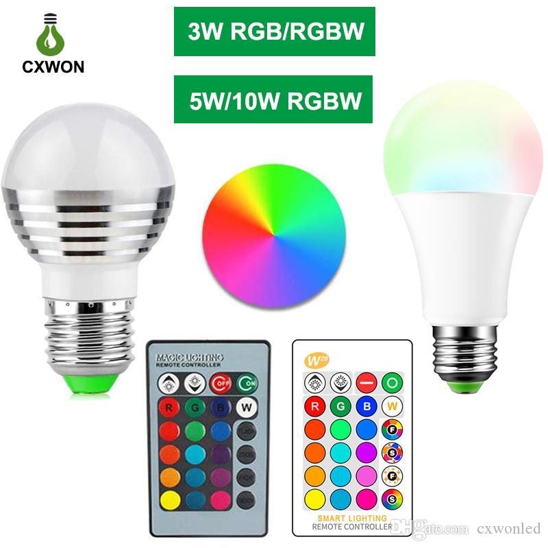 E27 E14 LED 16 색 변경 RGB RGBW 전구 램프 85-265V RGB LED 라이트 스포트 라이트 + IR 리모컨