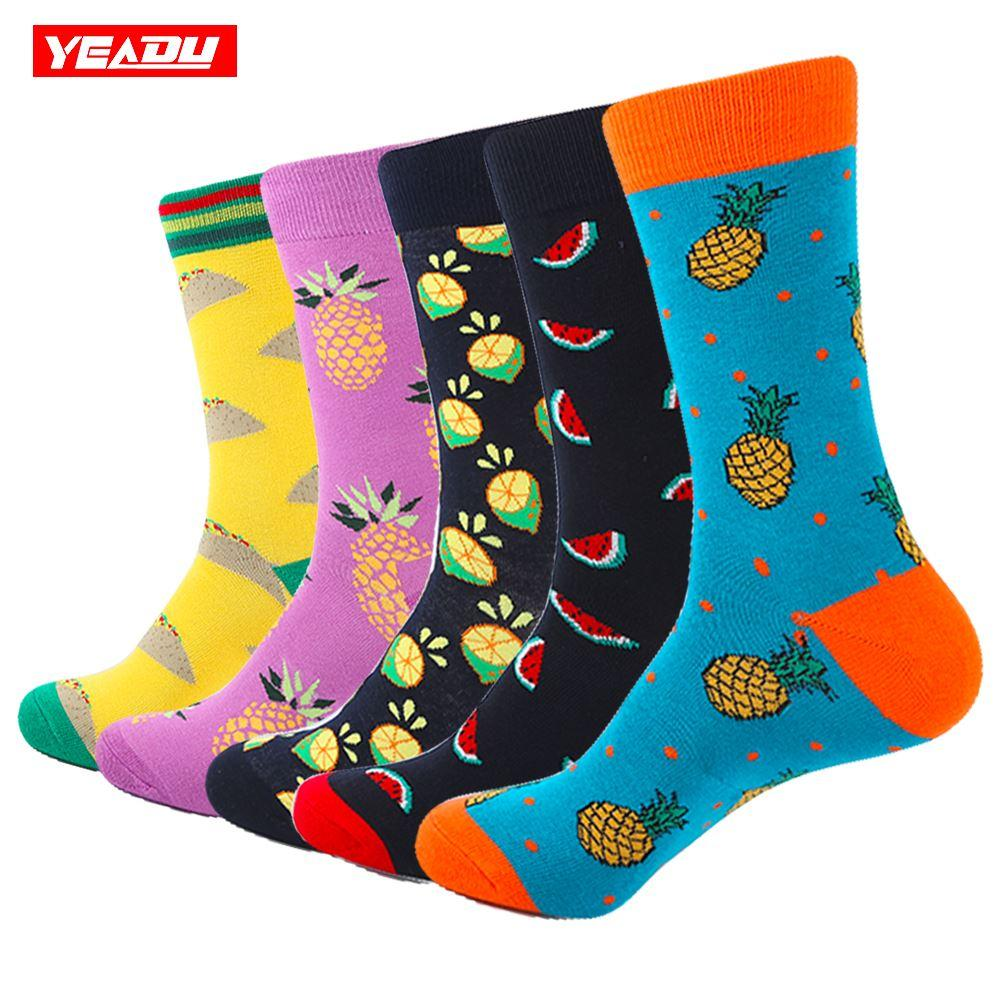YEADU 5 Pair/Lot Men's Colorful Funny Socks Cotton Pineapple Series Socks For Men Causal Dress Bright Multi-Color Wedding Gift