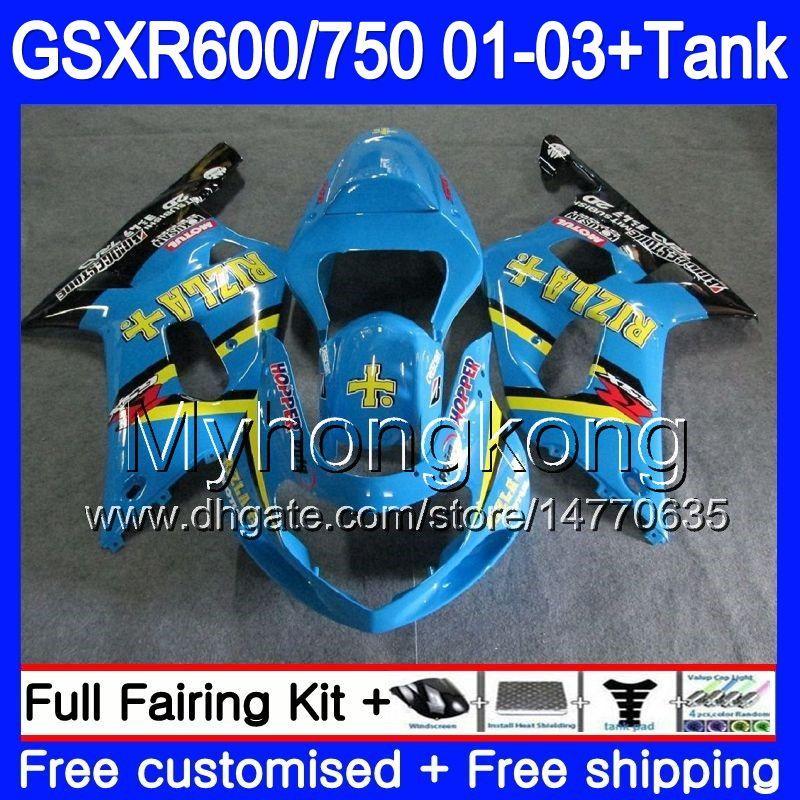 + Tank pour Suzuki GSXR 600 750 GSXR-750 GSXR600 2001 2002 2003 294HM.40 GSX R750 R600 K1 GSX-R600 GSXR750 01 02 03 Caréning Rizla Cyan Stock