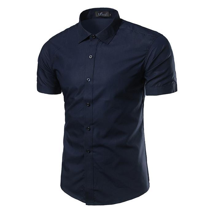 Мужская Тонкий платье рубашка с коротким рукавом лето Solid Color Turn Down Воротник Дизайнер Рубашка мужская повседневная одежда