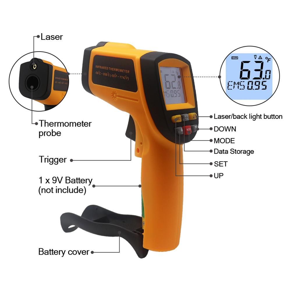 GM900 non-contact Temperature meter -50~950C -58 ~ 17422F Pyrometer 0.1~1EM Celsius IR Infrared Thermometer