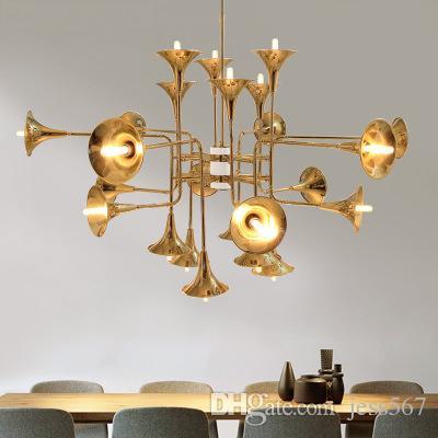 24 Head Modern Chandelier Lamp Toolery speaker Shape Suspension Lamp chrome gold black body Living Room Light Dining Light EMS