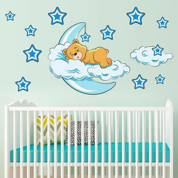 Ayı Duvar Sticker Sleeping Ay Bulut Duvar Sticker Yıldız Çıkartması Bebek Odası DIY çocuğunuzda 2020 En Yeni Sevimli Ayı Uyku
