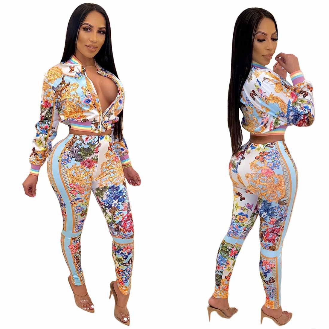 Bateau libre 2020 Femmes Mode imprimé floral Sweatsuit Casual Slim Zip Jacket Neck et pantalon 2pcs Survêtement XXL