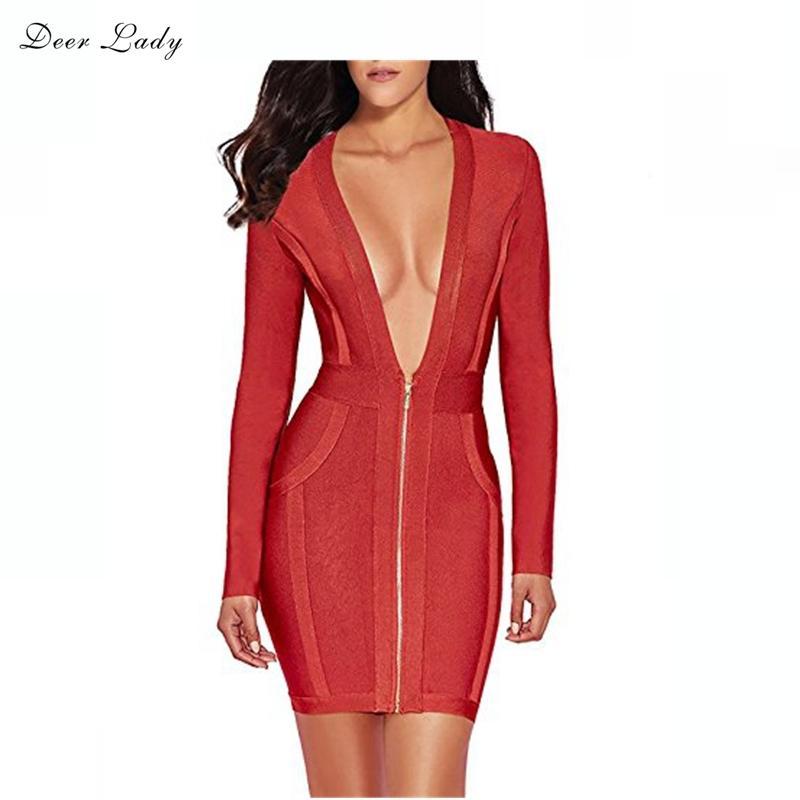Lady HL cerf 2019 à manches longues avant Zipper Sexy col en V élastique Automne Robe Bandage Noir Rouge MX200804 Rayonne
