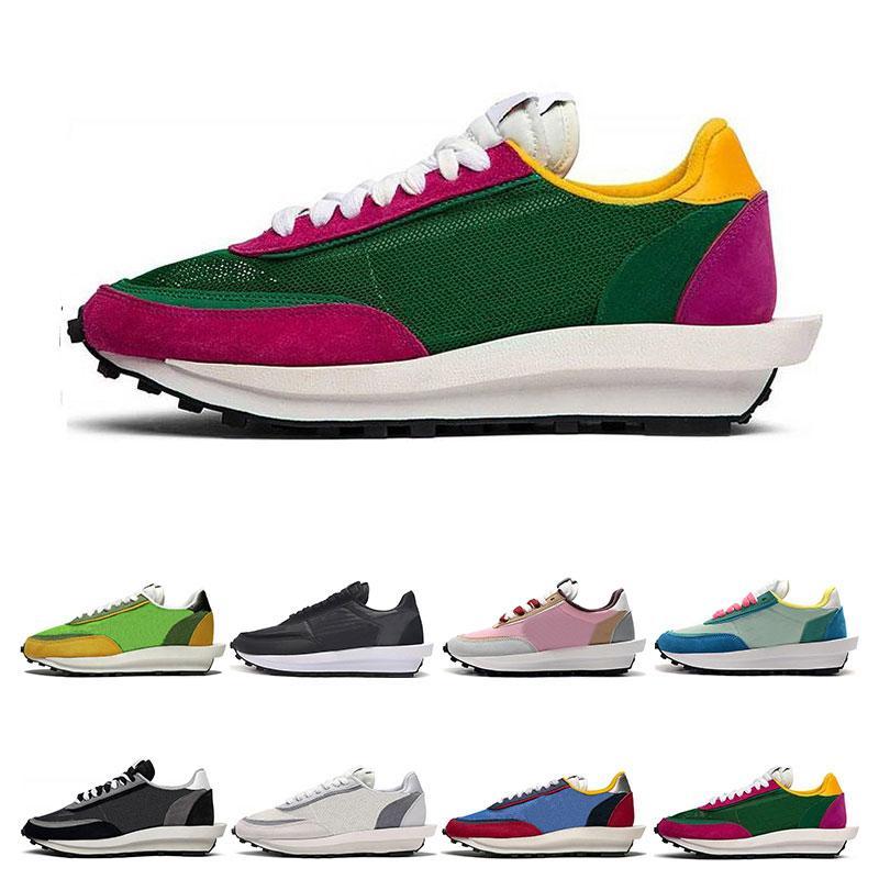 2020 Nova Sacai LDV Waffle tênis para homens, mulheres preto branco pinho cinzento verde Gusto Varsity Blues mens sneakers formadores de moda