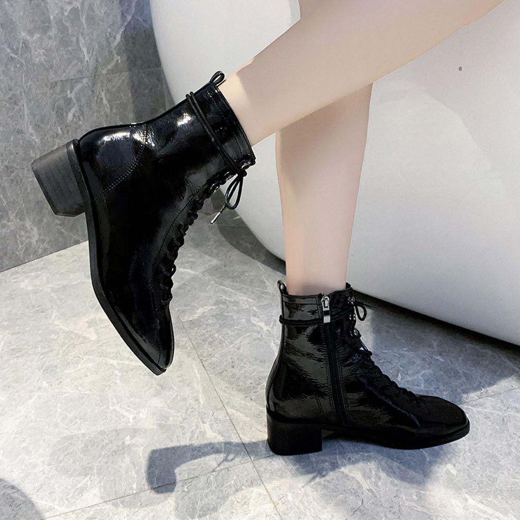 Sıcak Satış-Kadın Boots Avrupa Tarzı Yüksek Topuk Vahşi Motosiklet Boots Moda seksi bayanlar PU Deri Dantel-up Casual Temel Kısa