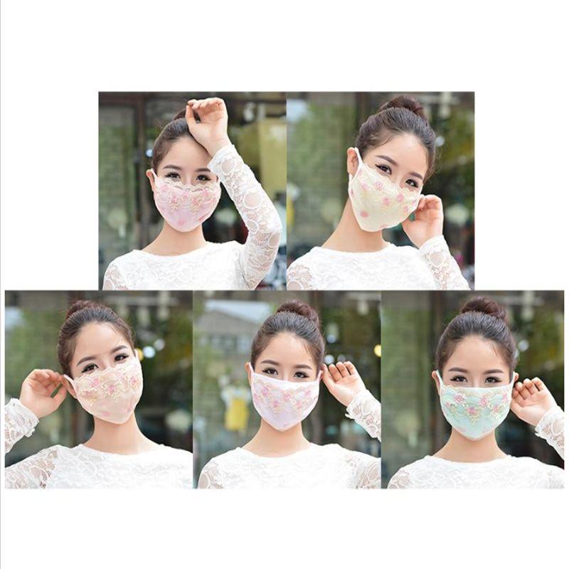 Kadın Dantel Pamuk Yüz Maskeleri Güneş kremi Anti-Dust Yıkanabilir Yeniden kullanılabilir Nakış Bisiklet Yüz Maskeleri YYA93 Maskesi