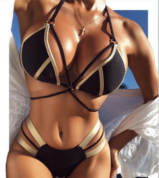 NUEVAS mujeres BIKINI dos piezas de Color Metal Patchwork Imprimir cremallera traje de baño Playa de verano traje de baño para mujeres bikini señora traje de baño envío gratis