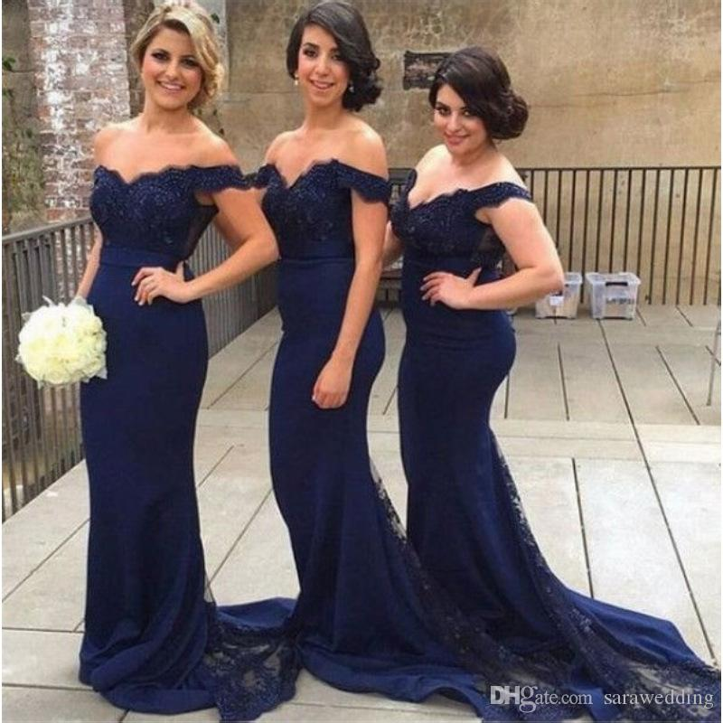 Navy Blue Mermaid Off Shoulder Bridesmaid Dresses 2020 Long Wedding Guest Gowns Lace Appliques Formal Dress