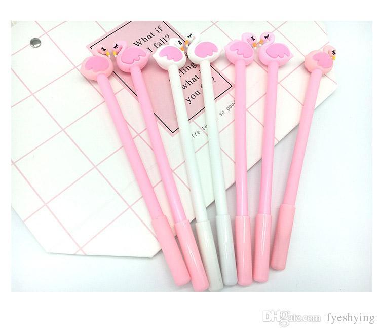 Forma de flamingo rosa dos desenhos animados 0.38 MM gel caneta estudante estudo escritório preto caneta assinatura