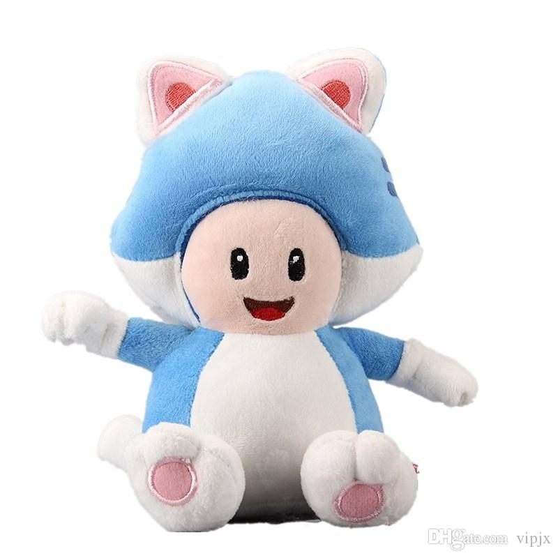 18cm Super Mario Bros Run Cat Toad 3D World Neko Plush Toy Stuffed Animal Doll Toy Gift New