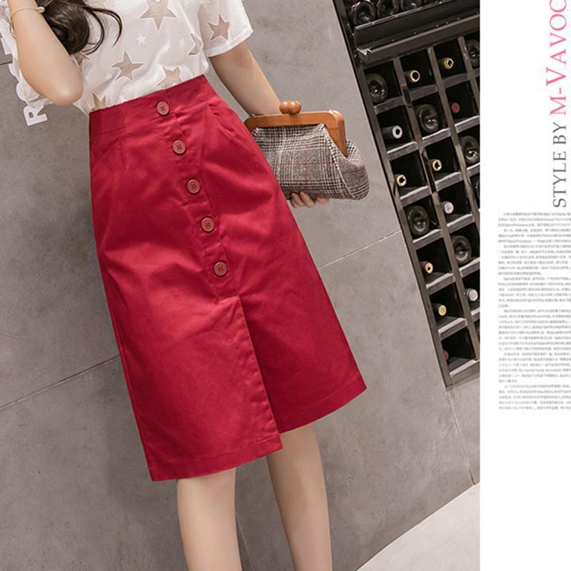 Demi Longueur Nouveaux Styles Eté Blanc Coton Une Ligne Jupe Femmes Genou Longueur Poches Jupes Femmes Taille Haute Bouton Vin Rouge Y19072001