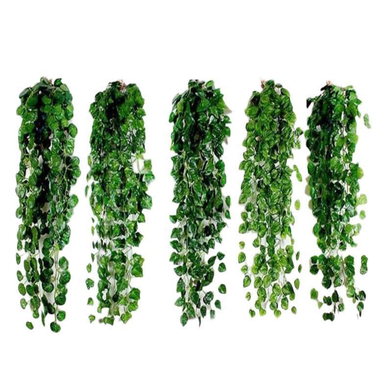 1 Pcs 2m Artificial Ivy green Leaf Garland Plants Vine Fake Foliage Flowers Home Decor Plastic Artificial Flower Rattan String