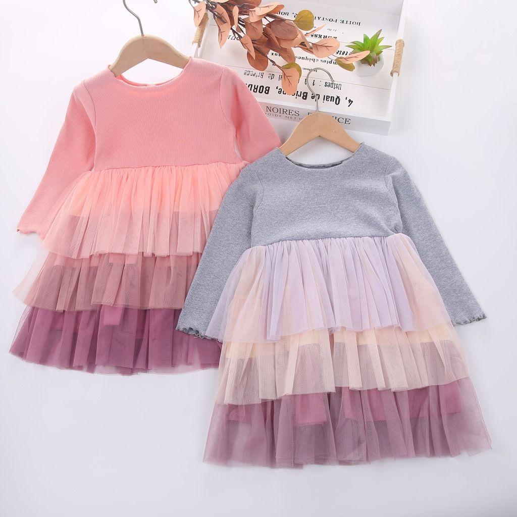 Baby Girl abito da principessa Kid abiti carini Nuova maniche lunghe di pendenza 3 strati di garza Layered vestito da autunno 2020