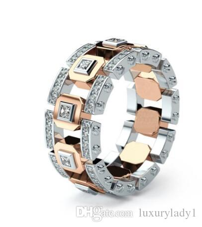 New Fashion Rose Gold Color CZ Stone Hollow Wedding Ring for Woman Dropshipping