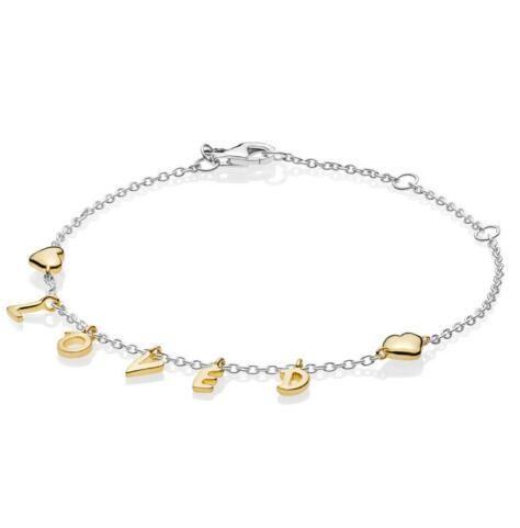 Orijinal 925 Gümüş Bileklik Shine Kadınlar Diy Moda Takı için Altın Kalpler Zincir Link Bilezik ile isim listesi sevdi