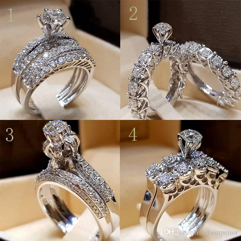 Multiple style bling bling strass Bague de mariage avec les femmes Zircon Ensemble cadeau de mariage Bague Couple Amour de haute qualité