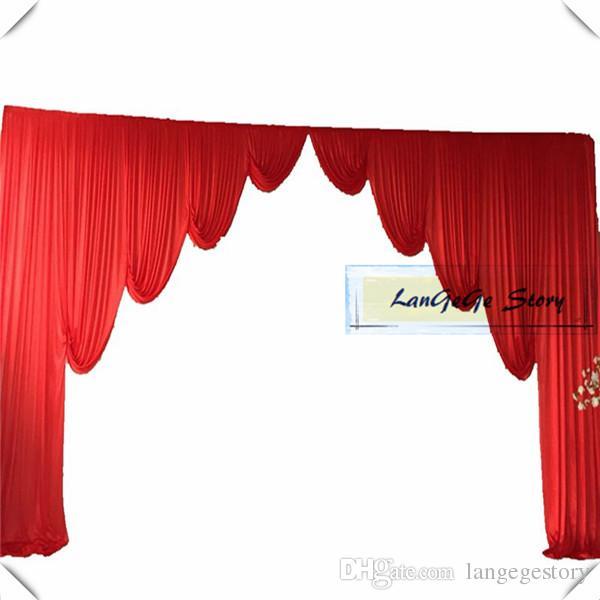 Бесплатная доставка льда шелковой ткани красный цвет шторы swags, пригодный для 10 футов*20 футов фон занавес цвет можно настроить