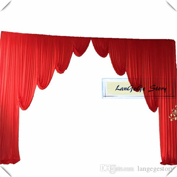 El color rojo de la tela de seda del hielo del envío libre cubre los swags aptos para el color de la cortina del contexto del 10ft * 20ft puede modificado para requisitos particulares