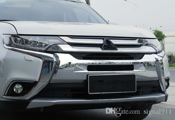 Yüksek kaliteli krom araba ızgara dekorasyon kapağı, 2016-2018 outlander Mitsubishi için Ön Tampon koruma kapağı ABS