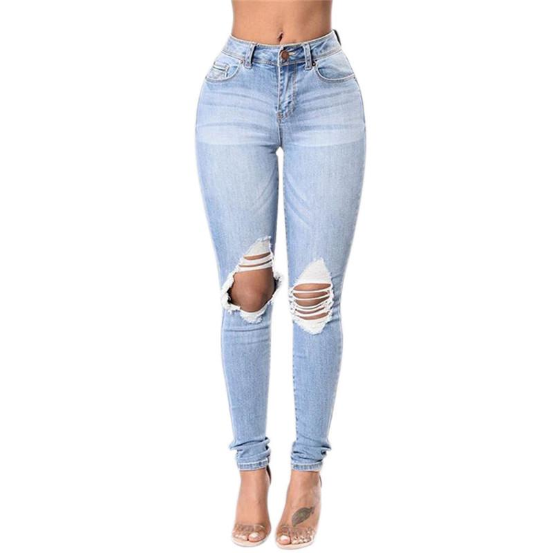 Compre Mujeres Moda 2017 Mujer Azul Destruidos Pantalones Jeans Stretch Femme Denim Jeans Rasgados Agujero A 9 53 Del Raoying8888 Dhgate Com