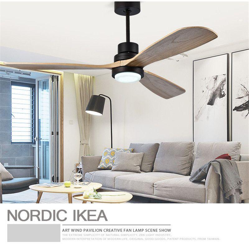 Amerikan Retro Tavan Fanı Işık Nordic Modern Yemek Odası Yatak Odası Oturma Odası Restoran Masif Ahşap Fan Lamba Ücretsiz Kargo