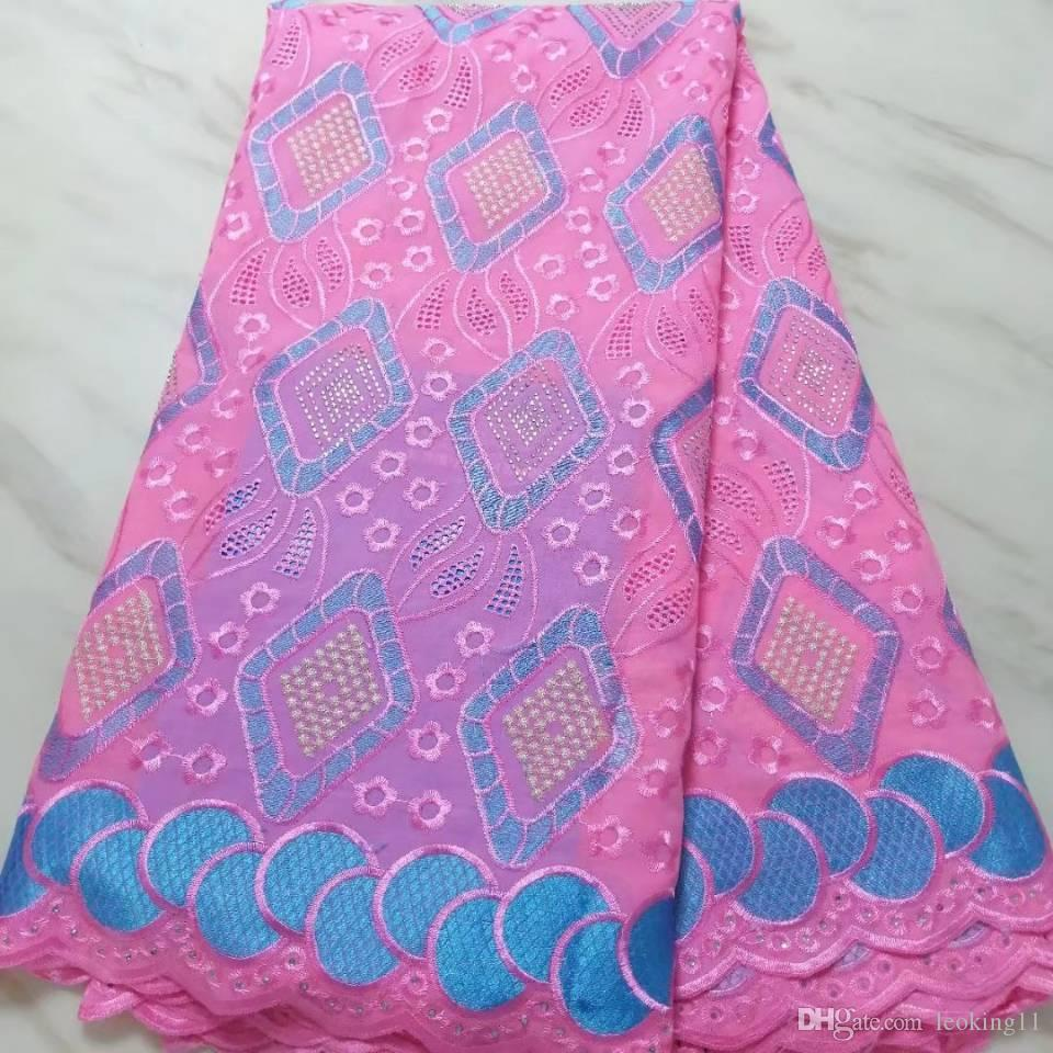 5Yards/pc Most popular pink african cotton fabric embroidery swiss voile dry lace for clothes BC97-8