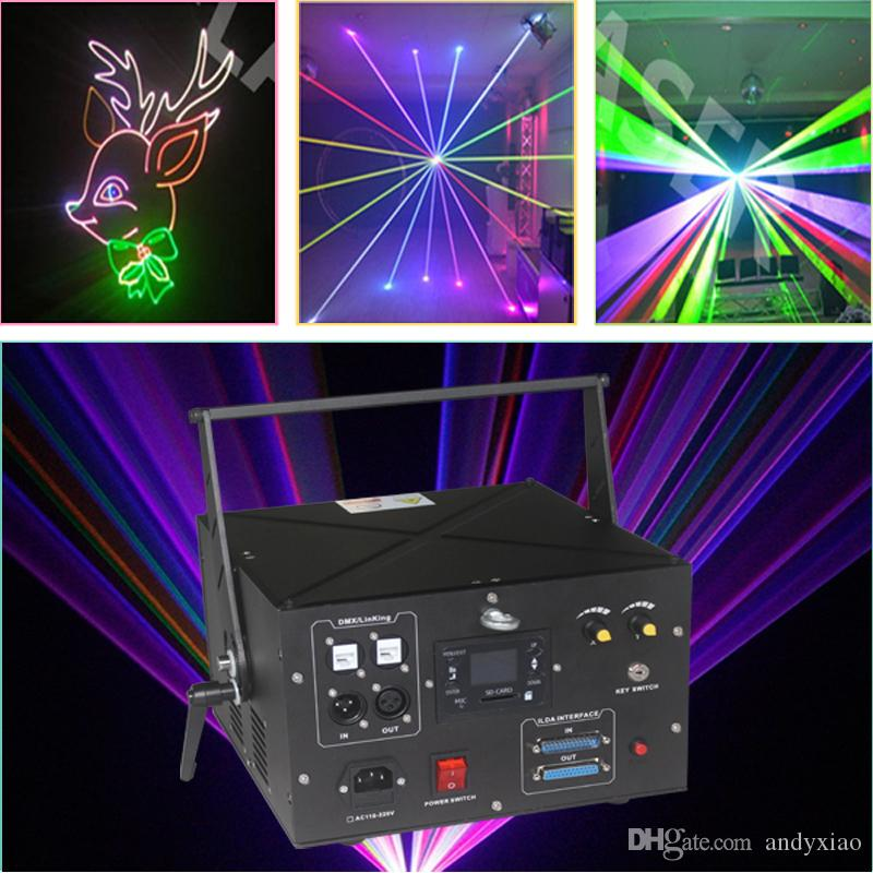 ILDA dmx512 full color effect 4w RGB laser lighting with dynamic patterns animation effects preset inside and SD card