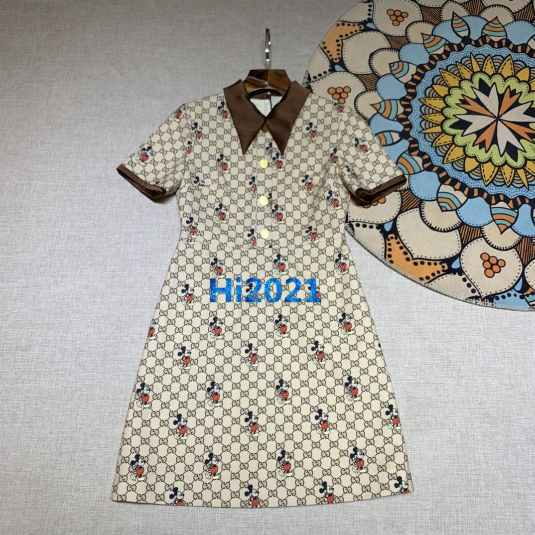 üst uç kadınlar kızlar mini gömlek elbise monogram hayvan mektup Jakar Kısa seksi bir satırı bluzlar milano pist moda tasarım elbiseler manşonlu