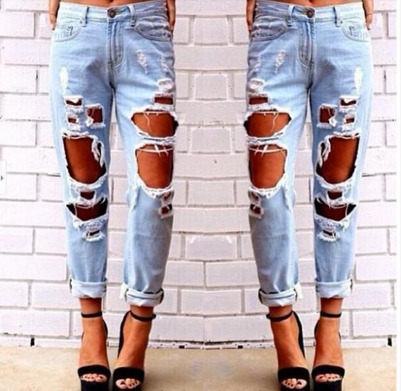 2019 progettista Womens Jeans Estate Europa e negli Stati Uniti slacciano grande selvaggio sexy del grande foro Boyfriend Jeans asiatico formato S-XL all'ingrosso