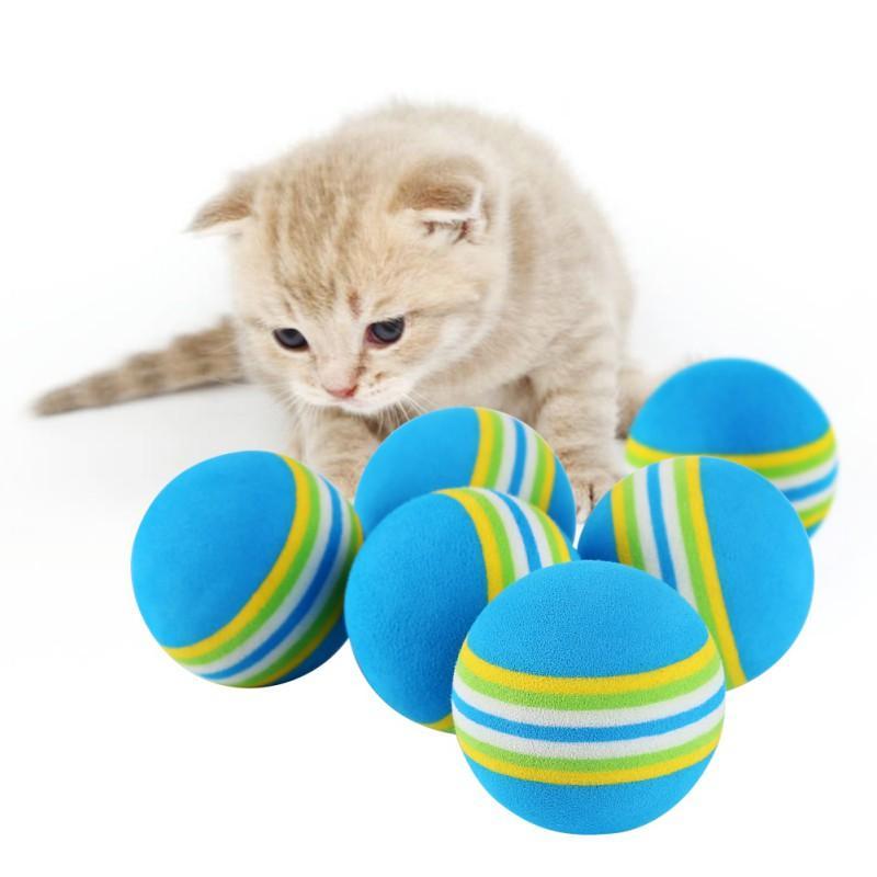 Arco-íris 3,5cm Gato do brinquedo bola Brinquedos gato interactivos Jogar Mastigar Rattle zero EVA bola Training Pet Shop Top Quality