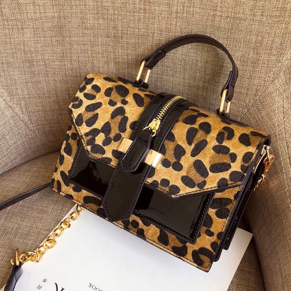 Leopard Umhängetaschen für Frauen mit Reißverschluss Damen Kette Handtaschen und Geldbörsen aus Leder Kleine Schultertasche Bolso
