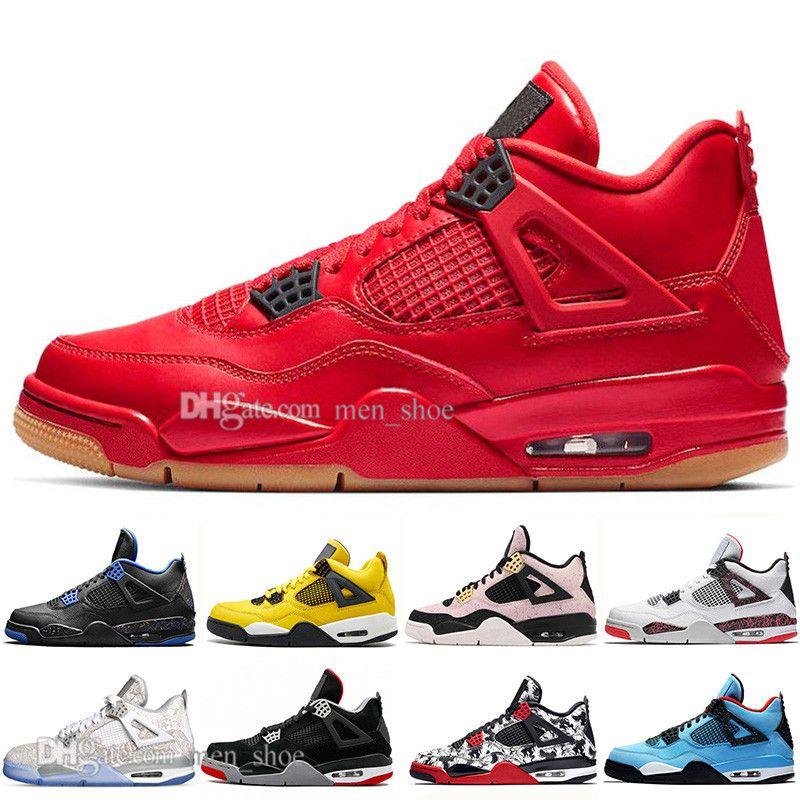 Con estuche de alta calidad New Bred 4 4s What The Cactus Jack Laser Wings Zapatillas de baloncesto para hombre Eminem Pale Citron Hombres Sports Sports Sneakers