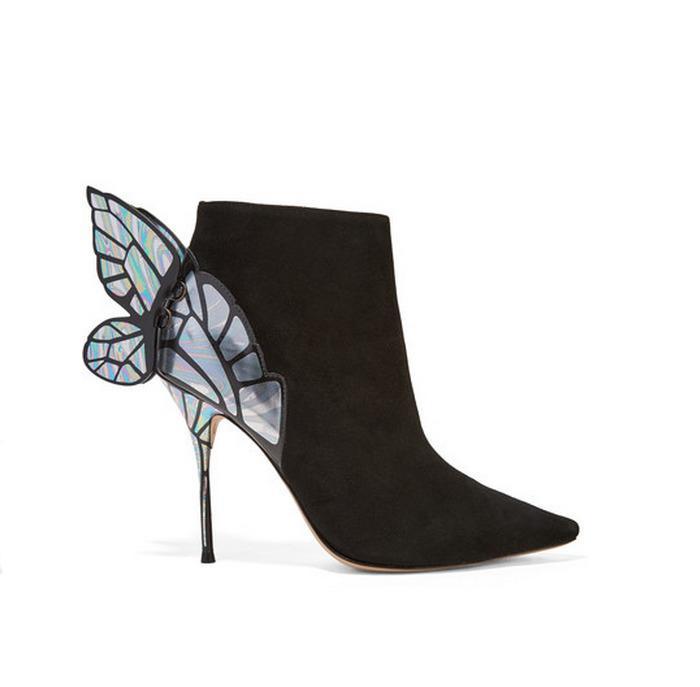 Sexy2019 Fine Sharp Super High avec bottes aile bidon court zipper Street Time Joker femme et chaussures