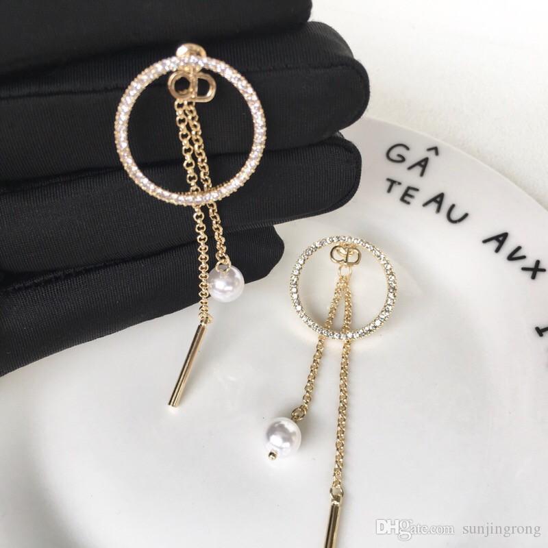Diamante elegante degli orecchini del cerchio della perla di modo ciondolano Shinning orecchini all'aperto donne eleganti degli accessori dei monili regali di compleanno