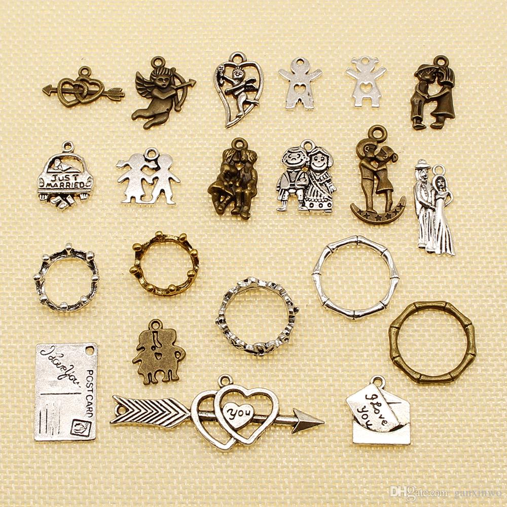 60 Pieces Silver Charm Or Pendants Jewelry Making Character Couple Lover Kissing Cupid Bamboo Circle HJ019