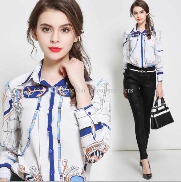 Elegante diseño de moda para mujer Vestido profesional blanco Camisas de manga larga Estampado de pana de solapa Base de moda Blusas